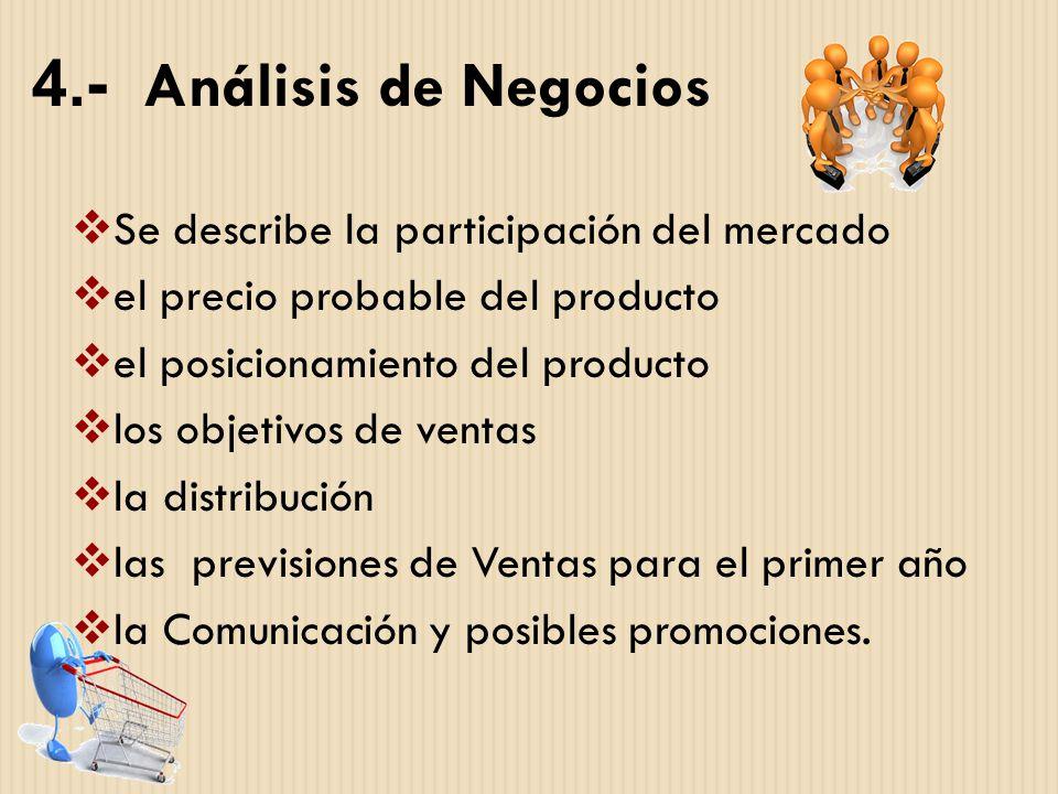 4.- Análisis de Negocios Se describe la participación del mercado