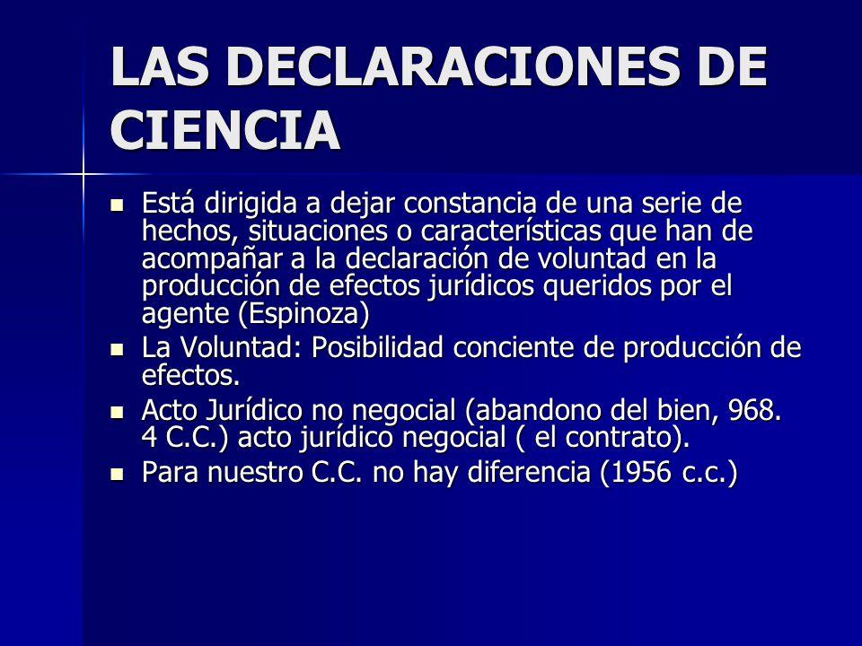 LAS DECLARACIONES DE CIENCIA