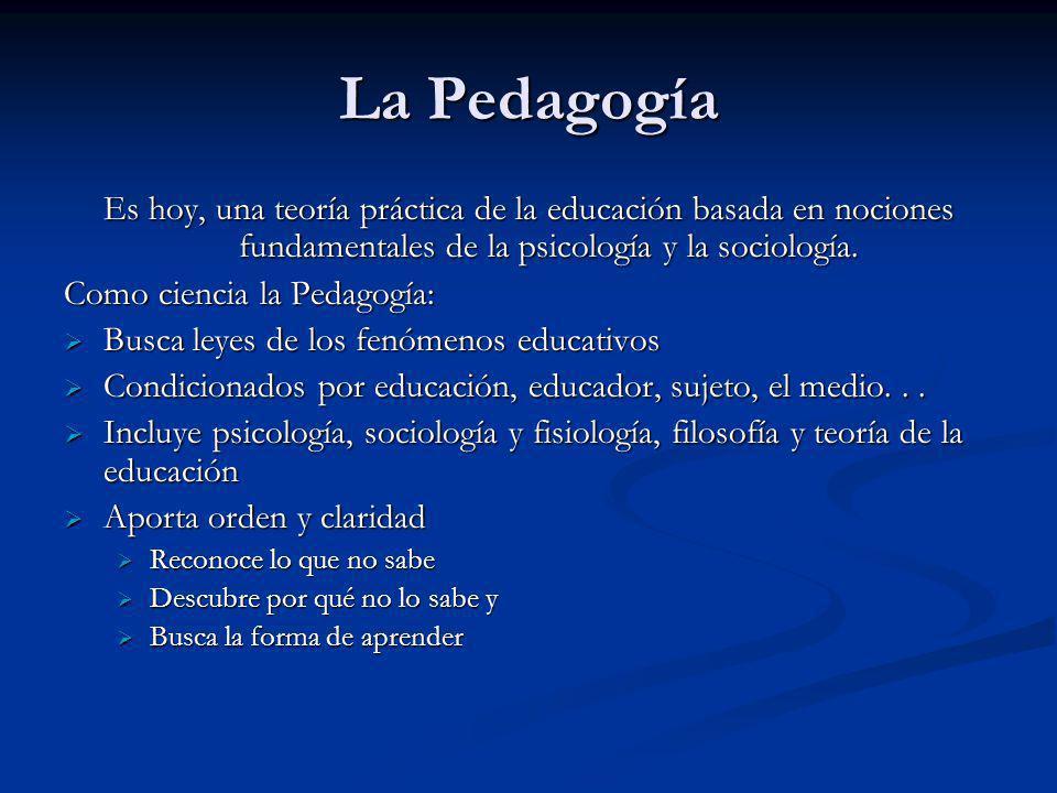 La Pedagogía Es hoy, una teoría práctica de la educación basada en nociones fundamentales de la psicología y la sociología.