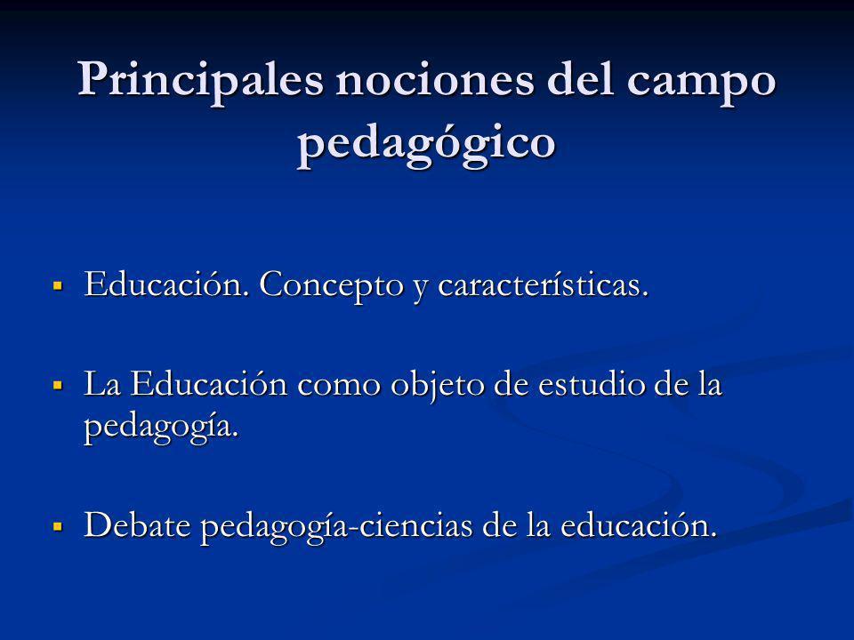 Principales nociones del campo pedagógico
