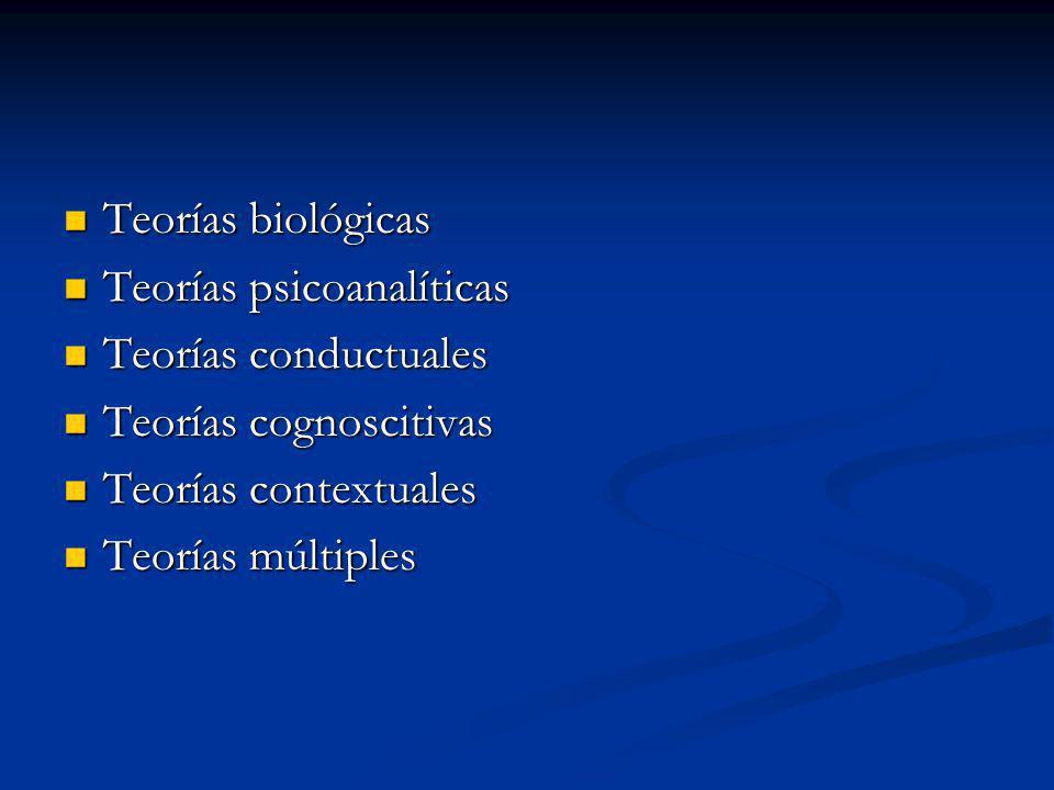 Teorías biológicas Teorías psicoanalíticas. Teorías conductuales. Teorías cognoscitivas. Teorías contextuales.