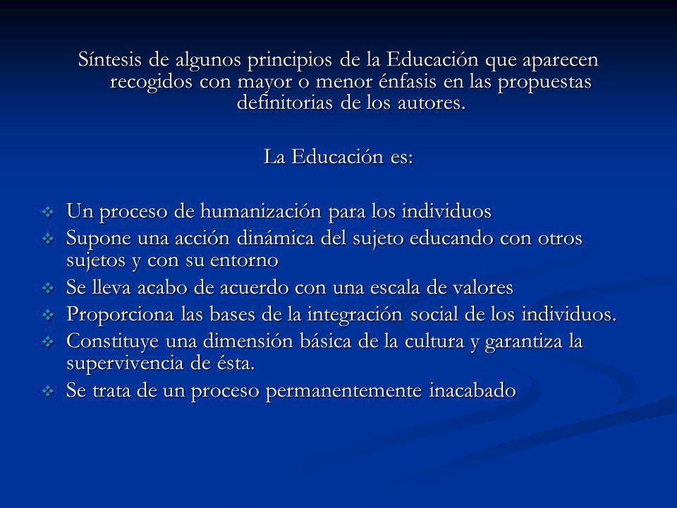 Síntesis de algunos principios de la Educación que aparecen recogidos con mayor o menor énfasis en las propuestas definitorias de los autores.