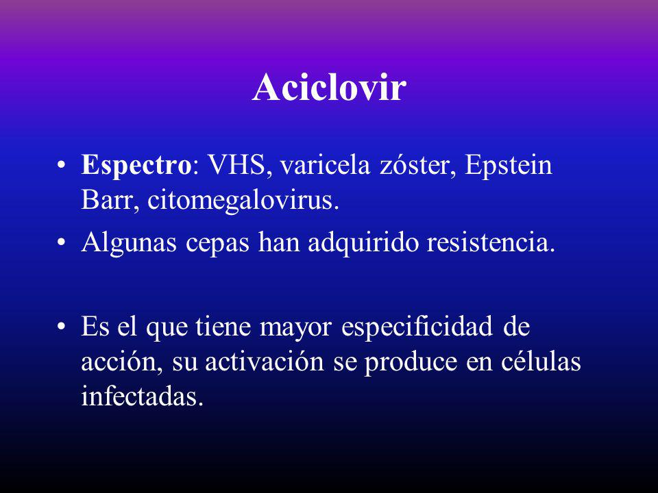 Aciclovir Espectro: VHS, varicela zóster, Epstein Barr, citomegalovirus. Algunas cepas han adquirido resistencia.