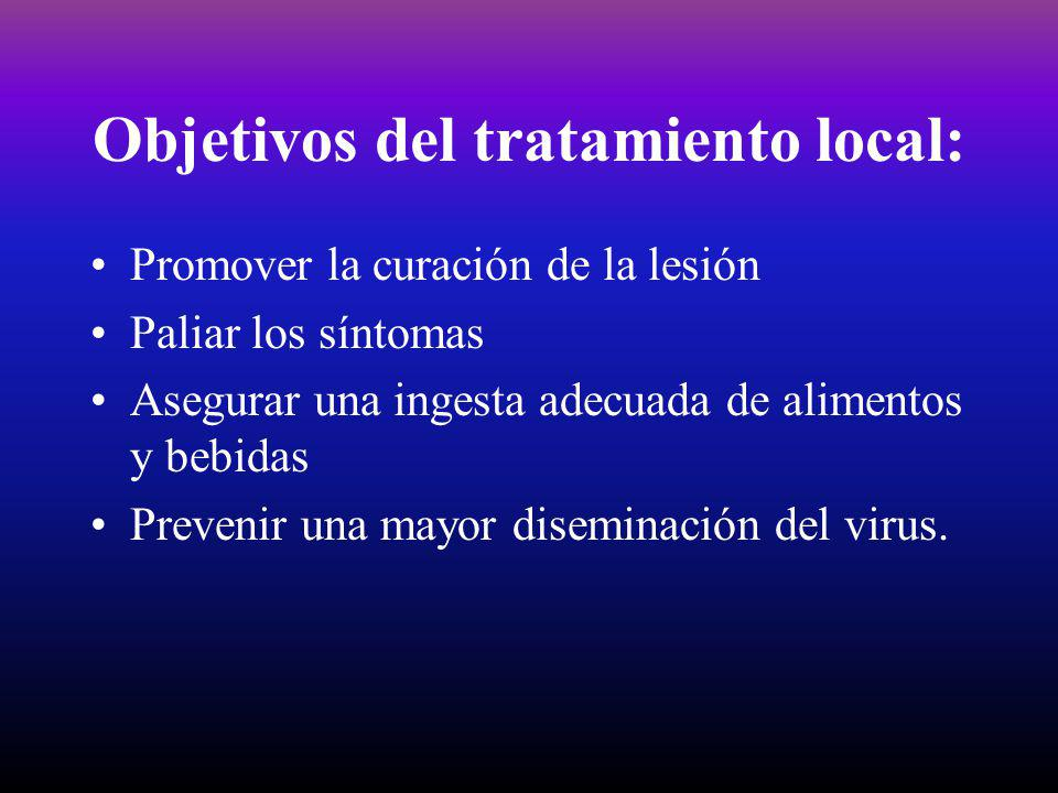 Objetivos del tratamiento local: