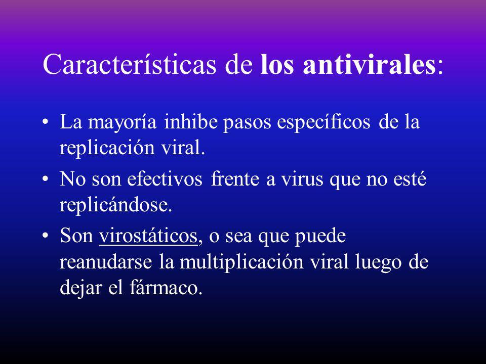 Características de los antivirales: