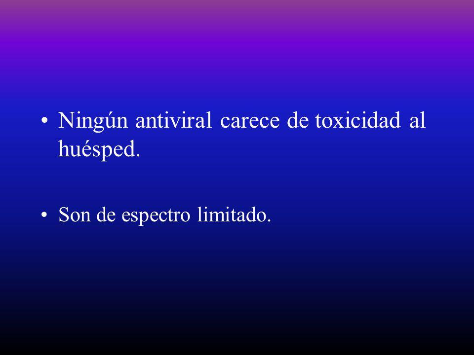 Ningún antiviral carece de toxicidad al huésped.