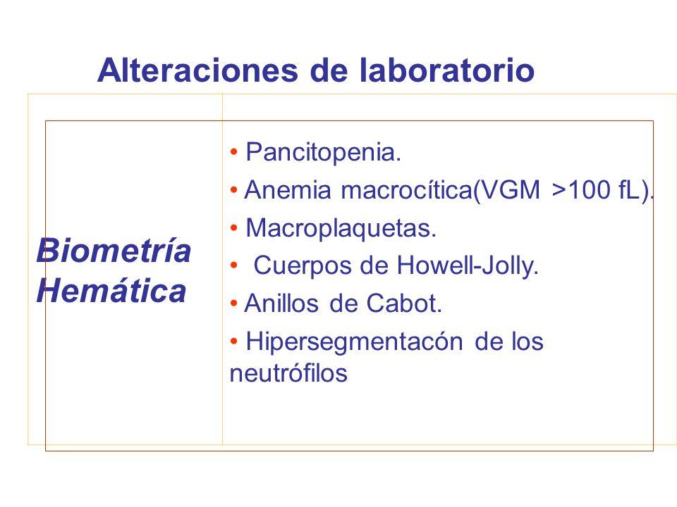 Alteraciones de laboratorio Biometría Hemática