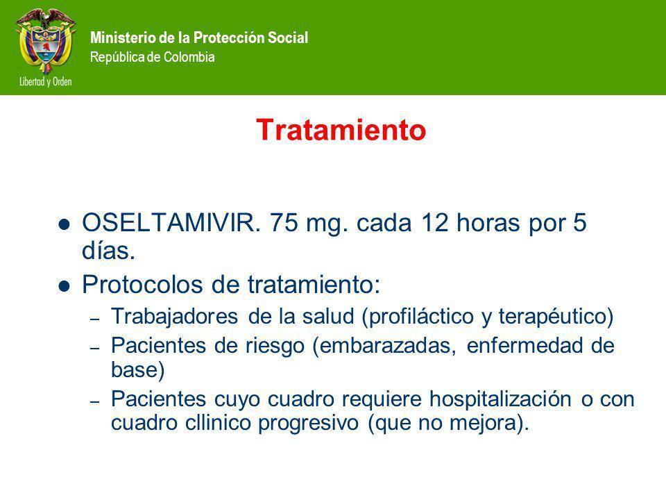Tratamiento OSELTAMIVIR. 75 mg. cada 12 horas por 5 días.
