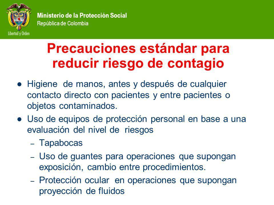 Precauciones estándar para reducir riesgo de contagio