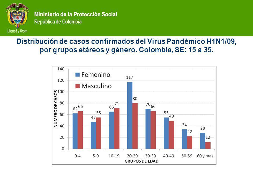 Distribución de casos confirmados del Virus Pandémico H1N1/09, por grupos etáreos y género.