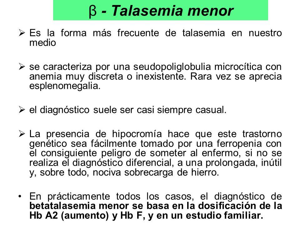 β - Talasemia menor Es la forma más frecuente de talasemia en nuestro medio.