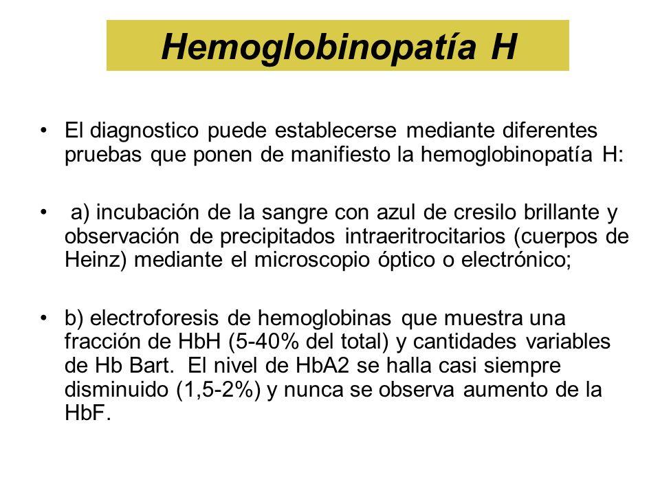 Hemoglobinopatía HEl diagnostico puede establecerse mediante diferentes pruebas que ponen de manifiesto la hemoglobinopatía H: