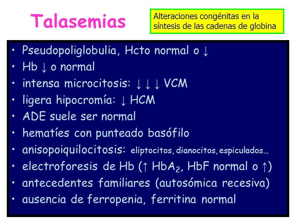 Talasemias Pseudopoliglobulia, Hcto normal o ↓ Hb ↓ o normal