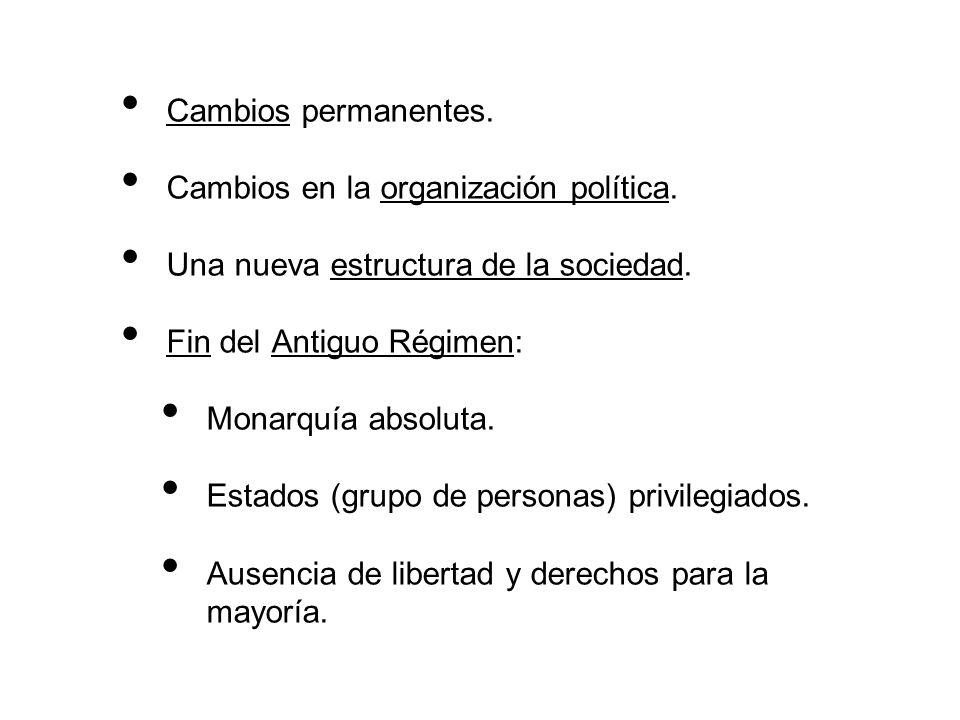 Cambios permanentes. Cambios en la organización política. Una nueva estructura de la sociedad. Fin del Antiguo Régimen: