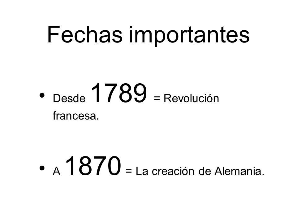 Fechas importantes Desde 1789 = Revolución francesa.