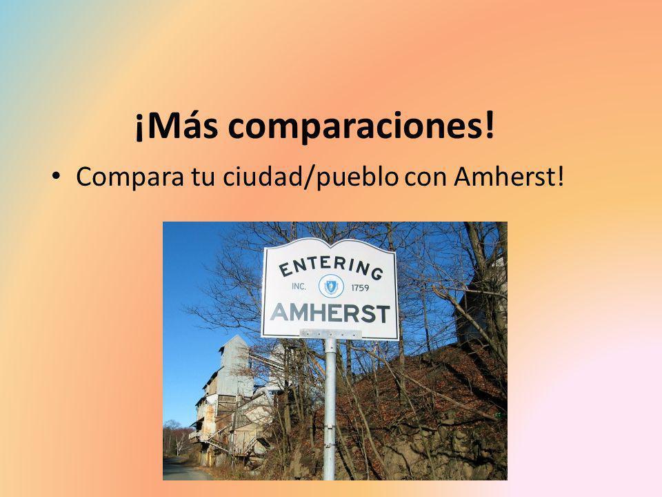 ¡Más comparaciones! Compara tu ciudad/pueblo con Amherst!