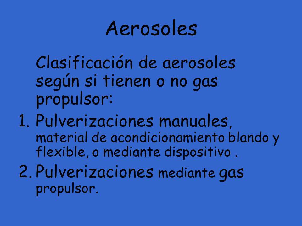Aerosoles Clasificación de aerosoles según si tienen o no gas propulsor: