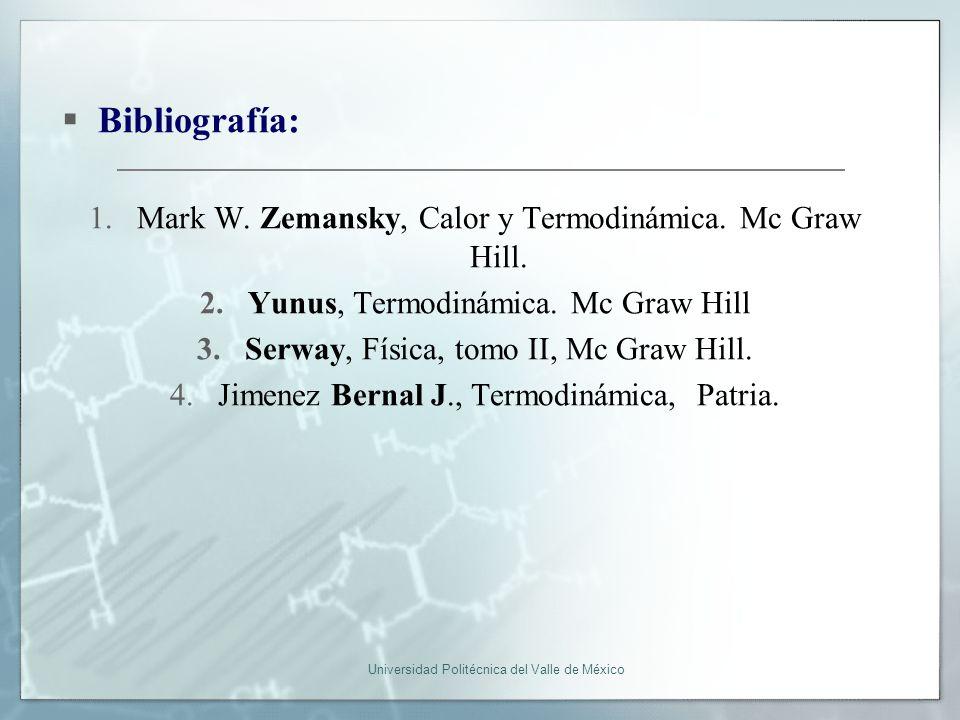 Bibliografía: Mark W. Zemansky, Calor y Termodinámica. Mc Graw Hill.