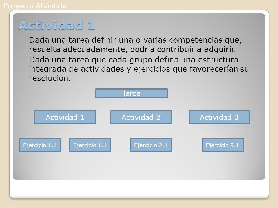 Proyecto Atlántida Actividad 1. Dada una tarea definir una o varias competencias que, resuelta adecuadamente, podría contribuir a adquirir.