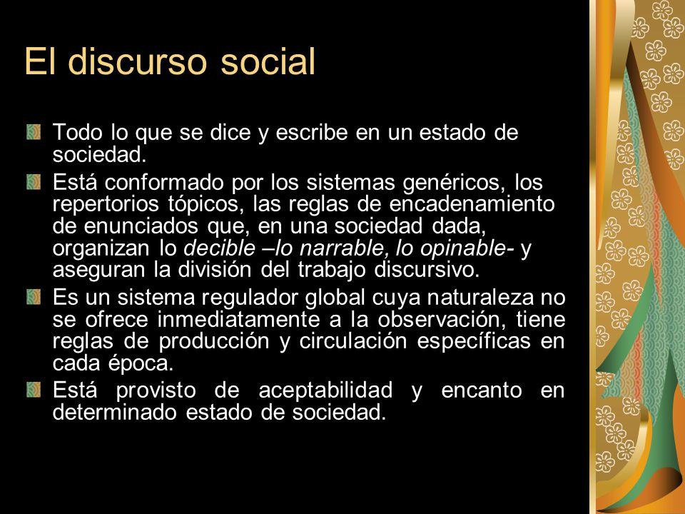 El discurso social Todo lo que se dice y escribe en un estado de sociedad.