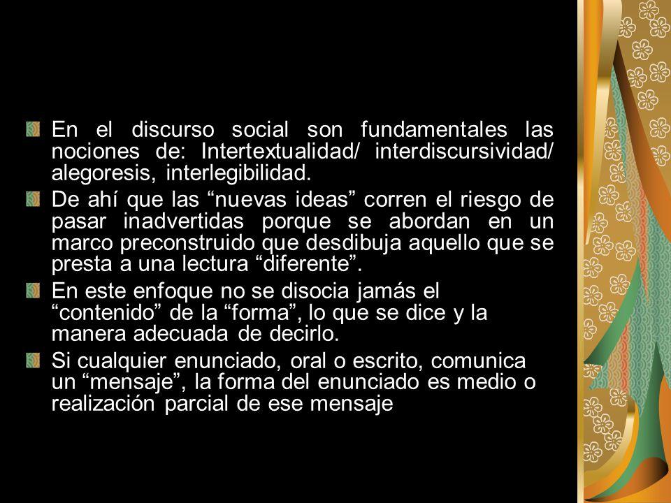 En el discurso social son fundamentales las nociones de: Intertextualidad/ interdiscursividad/ alegoresis, interlegibilidad.