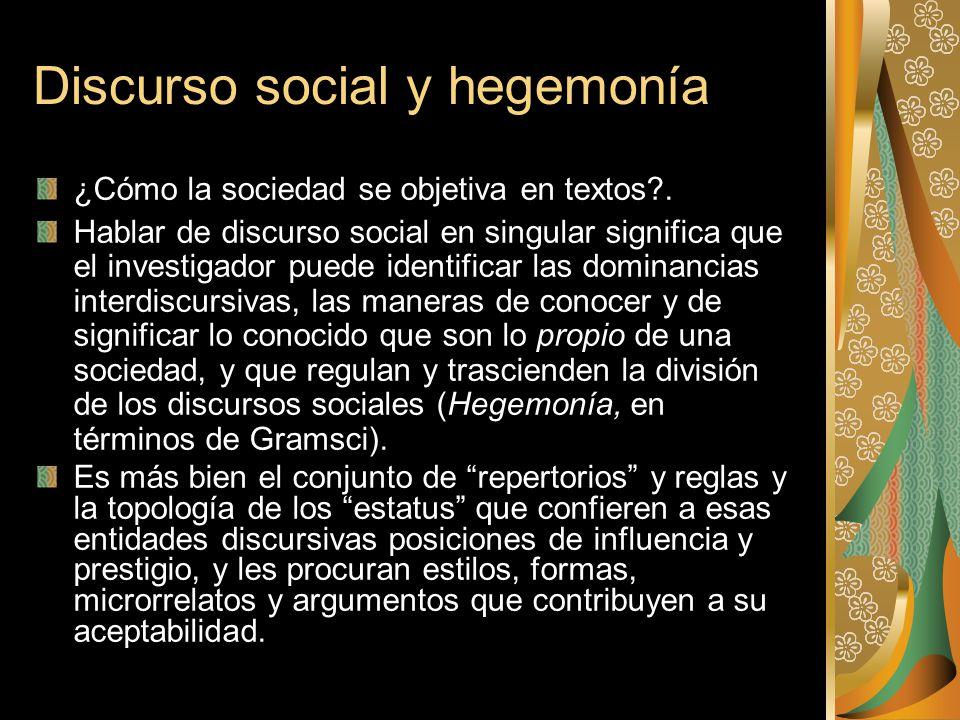 Discurso social y hegemonía