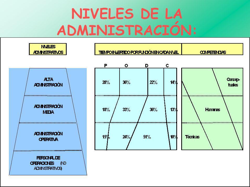 NIVELES DE LA ADMINISTRACIÓN: