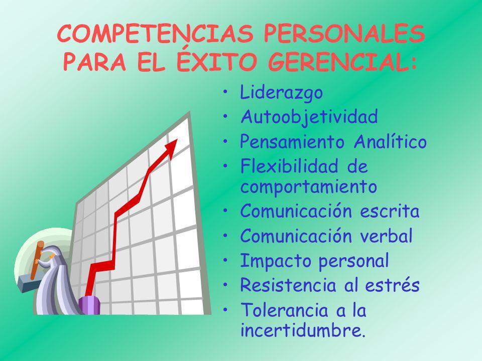 COMPETENCIAS PERSONALES PARA EL ÉXITO GERENCIAL: