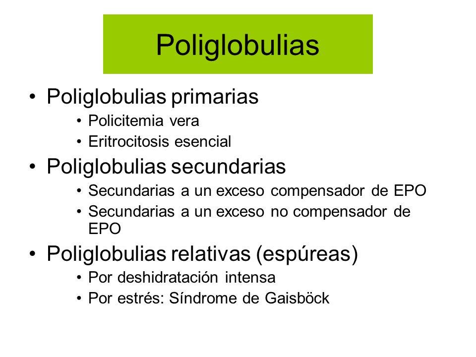 Poliglobulias Poliglobulias primarias Poliglobulias secundarias