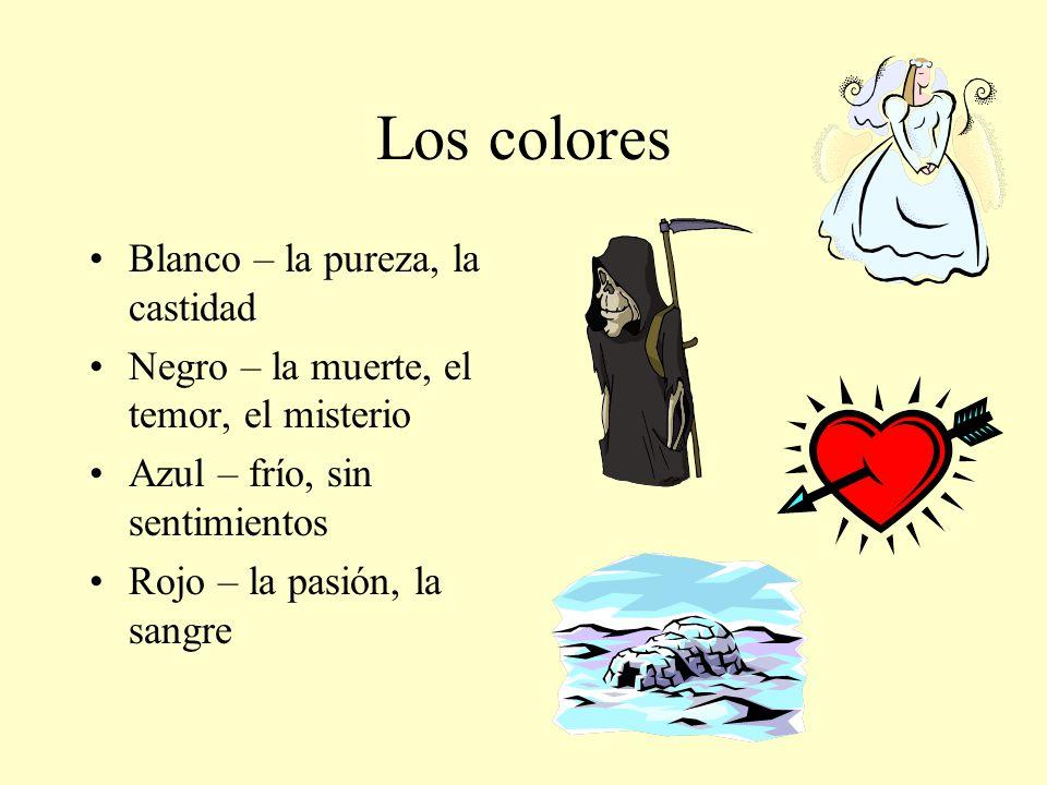 Los colores Blanco – la pureza, la castidad
