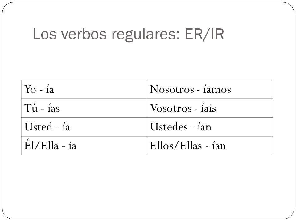 Los verbos regulares: ER/IR