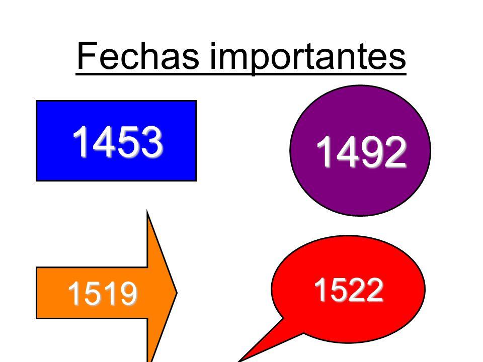 Fechas importantes 1492 1453 1519 1522