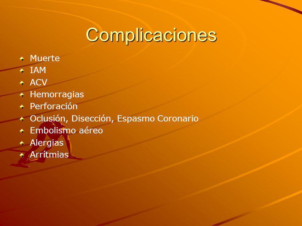 Complicaciones Muerte IAM ACV Hemorragias Perforación