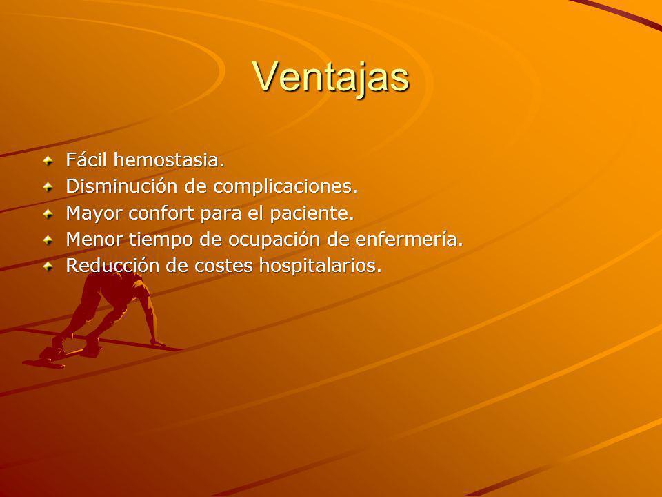 Ventajas Fácil hemostasia. Disminución de complicaciones.