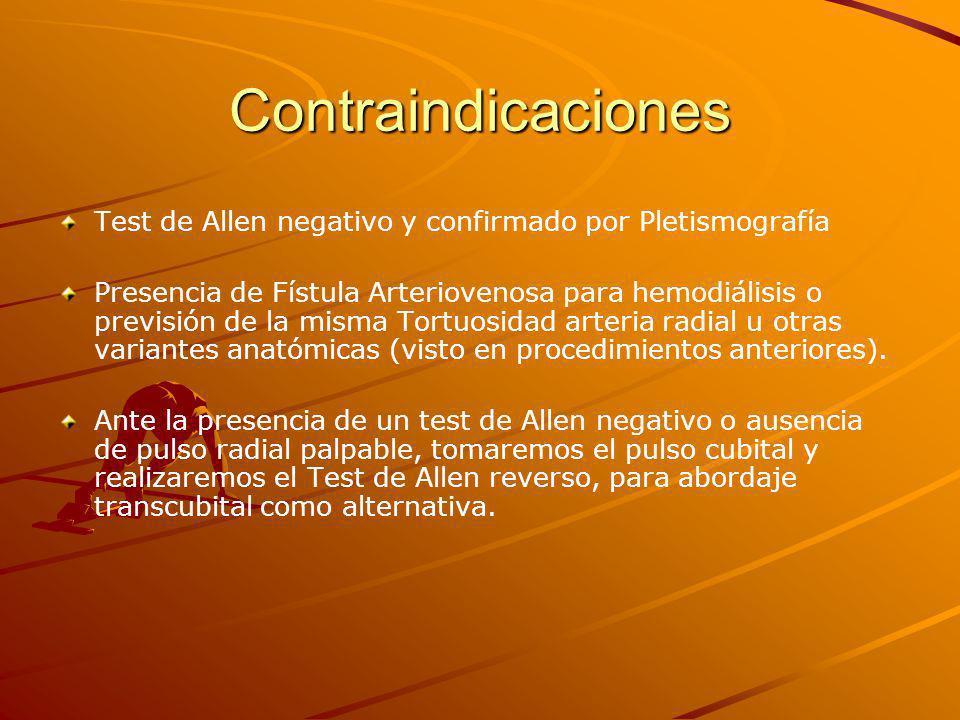 Contraindicaciones Test de Allen negativo y confirmado por Pletismografía.