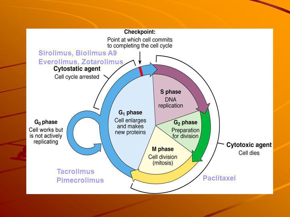 Sirolimus, Biolimus A9 Everolimus, Zotarolimus Tacrolimus Pimecrolimus Paclitaxel