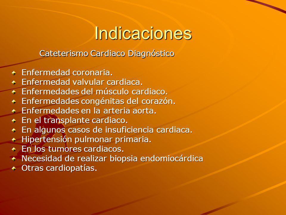 Indicaciones Enfermedad coronaria. Enfermedad valvular cardiaca.