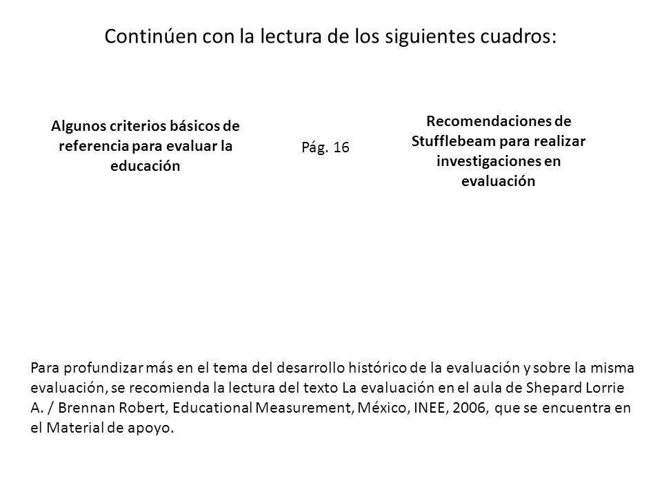 Algunos criterios básicos de referencia para evaluar la educación