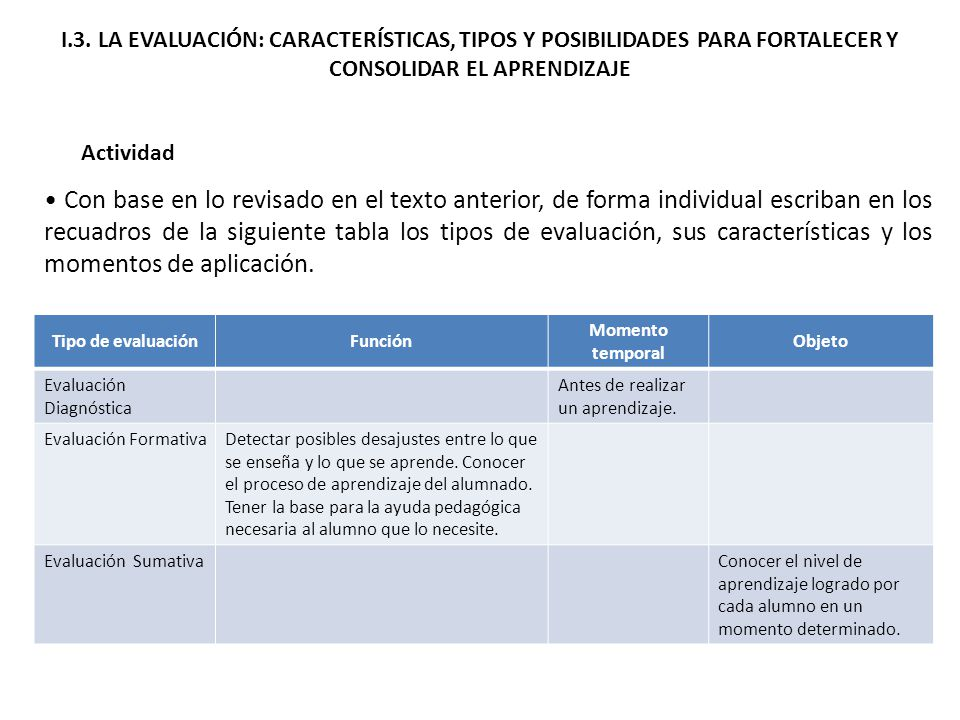 I.3. LA EVALUACIÓN: CARACTERÍSTICAS, TIPOS Y POSIBILIDADES PARA FORTALECER Y CONSOLIDAR EL APRENDIZAJE