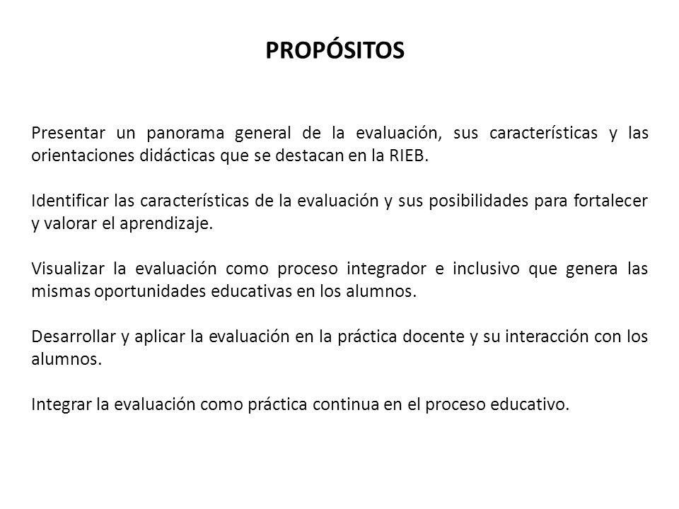 PROPÓSITOS Presentar un panorama general de la evaluación, sus características y las orientaciones didácticas que se destacan en la RIEB.
