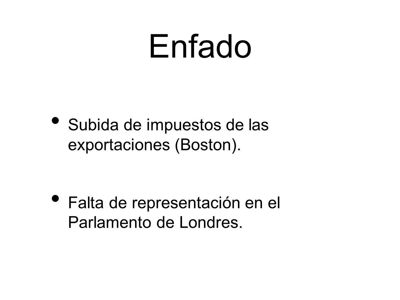 Enfado Subida de impuestos de las exportaciones (Boston).