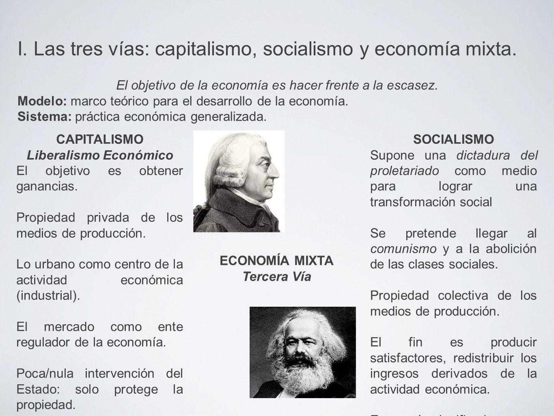 I. Las tres vías: capitalismo, socialismo y economía mixta.