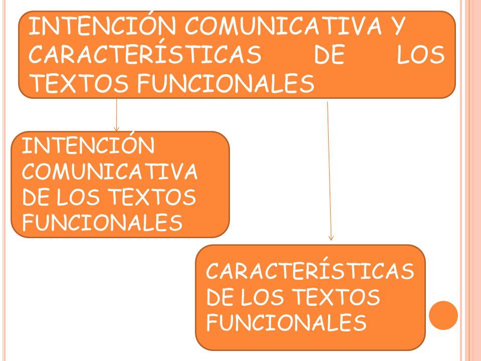INTENCIÓN COMUNICATIVA Y CARACTERÍSTICAS DE LOS TEXTOS FUNCIONALES
