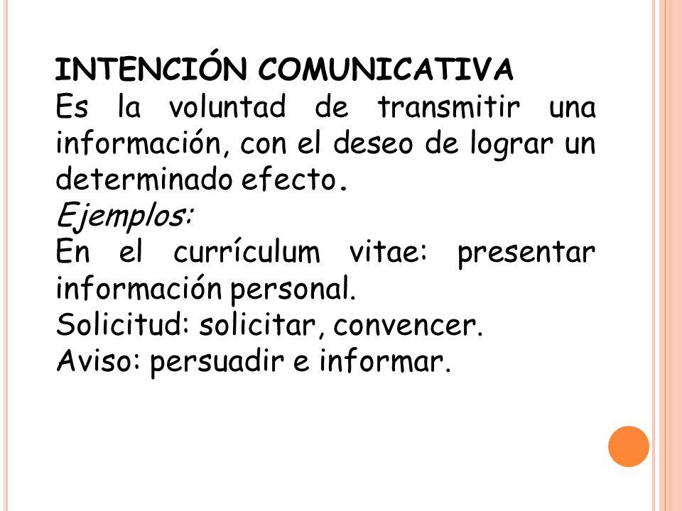 INTENCIÓN COMUNICATIVA