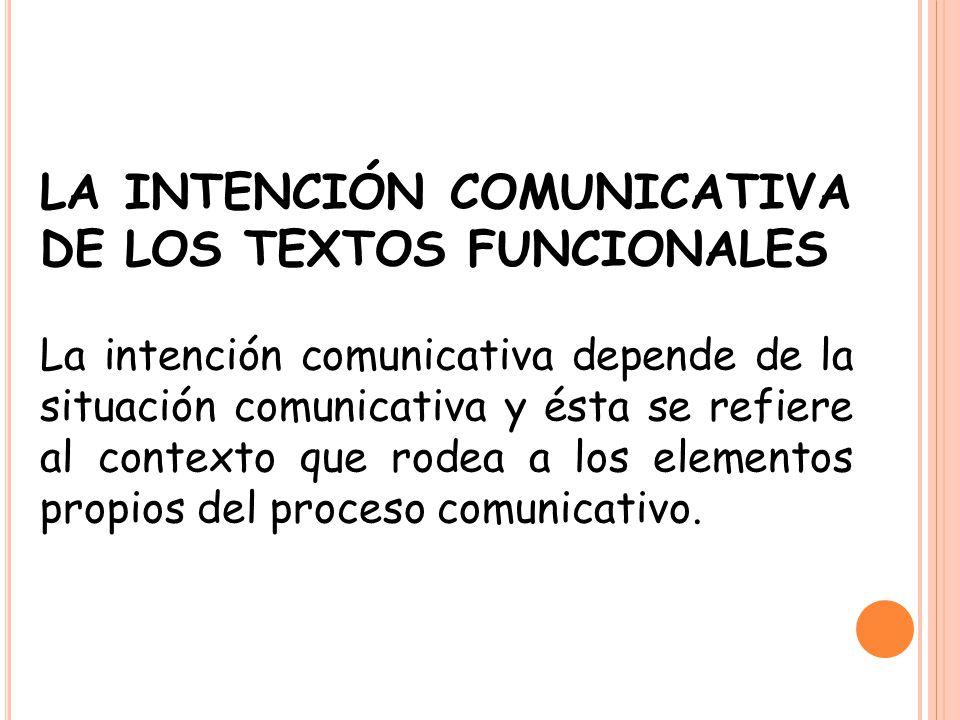 LA INTENCIÓN COMUNICATIVA DE LOS TEXTOS FUNCIONALES