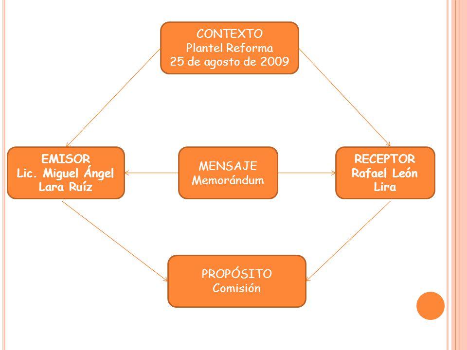 CONTEXTO Plantel Reforma. 25 de agosto de 2009. EMISOR. Lic. Miguel Ángel. Lara Ruíz. MENSAJE.
