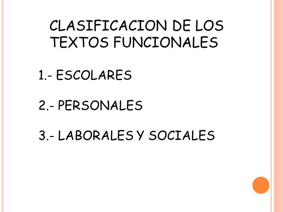 CLASIFICACION DE LOS TEXTOS FUNCIONALES