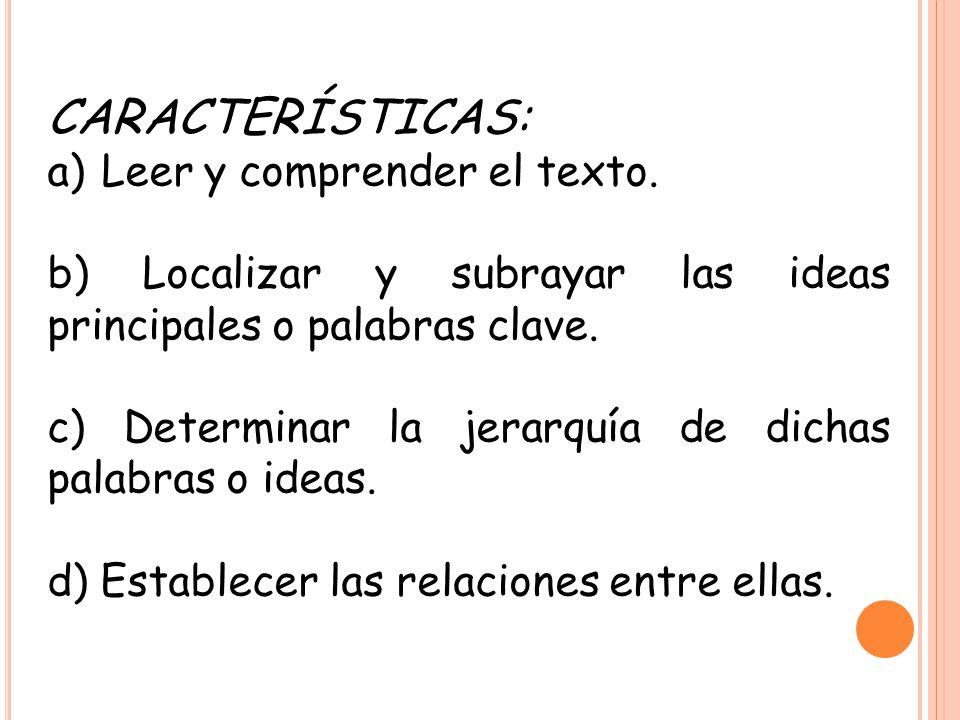 CARACTERÍSTICAS: Leer y comprender el texto.
