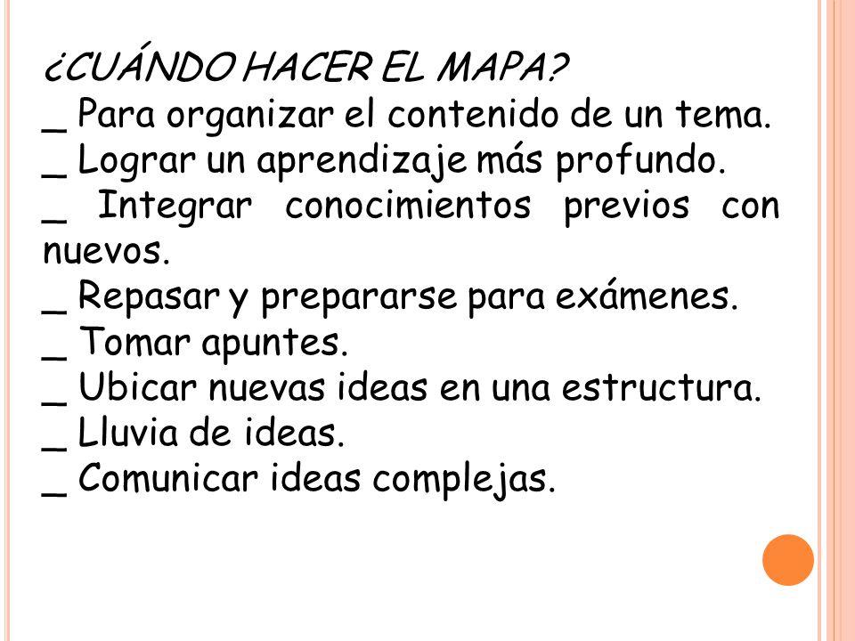 ¿CUÁNDO HACER EL MAPA _ Para organizar el contenido de un tema. _ Lograr un aprendizaje más profundo.