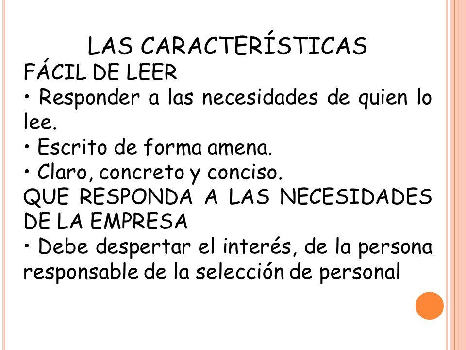 LAS CARACTERÍSTICAS FÁCIL DE LEER